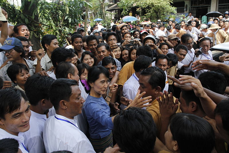 Aung San Suu Kyi greeting supporters from Bago State, source: Wikipedia